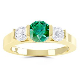 Unity Three Stone Emerald and White Sapphire 18ct Gold Vermeil Promise Ring