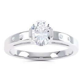 Unity Diamond Silver Promise Ring (OVAL WHITE GOLD)