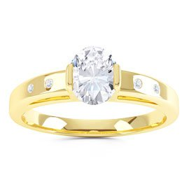 Unity Diamond Silver Promise Ring (OVAL YELLOW GOLD)