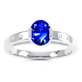 Unity Sapphire and Diamond Silver Promise Ring (OVAL WHITE GOLD)