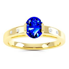 Unity Sapphire and Diamond Silver Promise Ring (OVAL YELLOW GOLD)