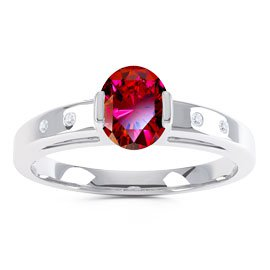 Unity Ruby and Diamond Silver Promise Ring (OVAL WHITE GOLD)