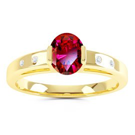 Unity Ruby and Diamond Silver Promise Ring (OVAL YELLOW GOLD)