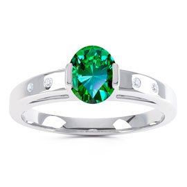 Unity Emerald and Diamond Silver Promise Ring (OVAL WHITE GOLD)