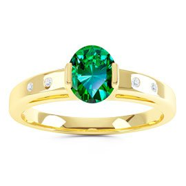 Unity Emerald and Diamond Silver Promise Ring (OVAL YELLOW GOLD)