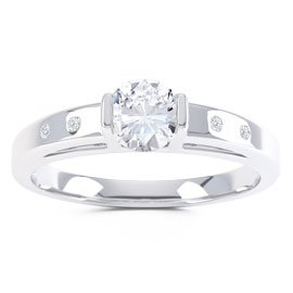 Unity White Sapphire Platinum plated Silver Promise Ring