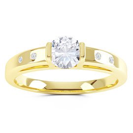 Unity White Sapphire 18ct Gold Vermeil Promise Ring