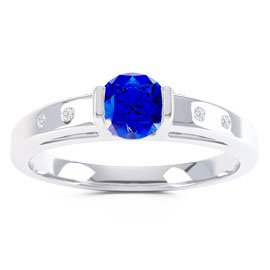 Unity Sapphire and Diamond Silver Promise Ring (ROUND WHITE GOLD)