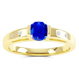 Unity Sapphire and Diamond Silver Promise Ring (ROUND YELLOW GOLD)