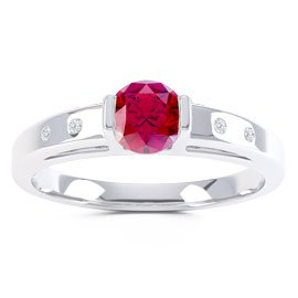 Unity Ruby and Diamond Silver Promise Ring (ROUND WHITE GOLD)