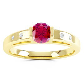 Unity Ruby and Diamond Silver Promise Ring (ROUND YELLOW GOLD)