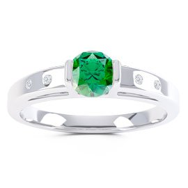 Unity Emerald and Diamond Silver Promise Ring (ROUND WHITE GOLD)