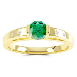 Unity Emerald and Diamond Silver Promise Ring (ROUND YELLOW GOLD)
