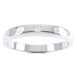 Unity Round White Sapphire 18ct White Gold Promise Ring Band