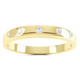 Unity Round White Sapphire 18ct Yellow Gold Promise Ring Band