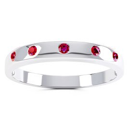 Unity Ruby Platinum plated Silver Promise Ring Band
