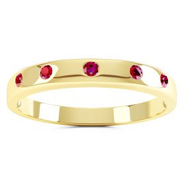Unity Ruby 18ct Gold Vermeil Promise Ring Band