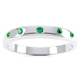 Unity Emerald Silver Promise Ring Band (ROUND WHITE GOLD)