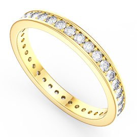 Promise White Sapphire 18ct Yellow Gold Channel Full Eternity Ring
