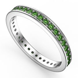 Promise Emerald 18ct White Gold Channel Full Eternity Ring
