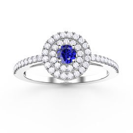 Fusion Round Blue and White Sapphire Halo Platinum plated Silver Ring