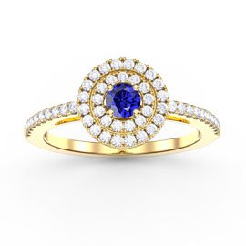 Fusion Round Blue and White Sapphire Halo 18ct Gold Vermeil Ring