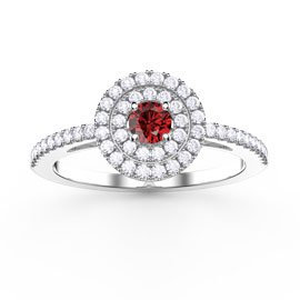 Fusion Round Ruby and White Sapphire Halo Platinum plated Silver Ring