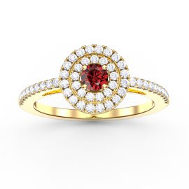 Fusion Round Ruby and White Sapphire Halo 18ct Gold Vermeil Ring