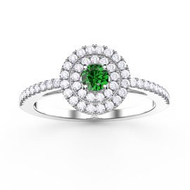 Fusion Round Emerald and White Sapphire Halo Platinum plated Silver Ring