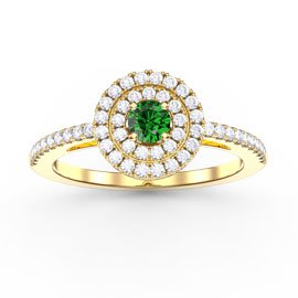Fusion Round Emerald and White Sapphire Halo 18ct Gold Vermeil Ring