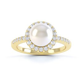 Venus Pearl and White Sapphire Halo Silver Promise Ring (YELLOW GOLD)