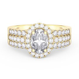 Eternity White Sapphire Halo Silver Promise Ring Set (OVAL 2D YELLOW GOLD)