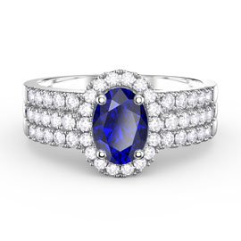 Eternity Sapphire Halo Silver Promise Ring Set (OVAL 2D WHITE GOLD)