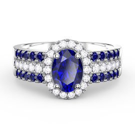 Eternity Oval Sapphire Halo and Half Sapphire Eternity Platinum plated Silver Promise Ring Set