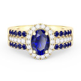 Eternity Oval Sapphire Halo and Half Eternity 18ct Gold Vermeil Promise Ring Set
