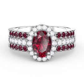 Eternity Oval Ruby Halo and Half Ruby Eternity Platinum plated Silver Promise Ring Set