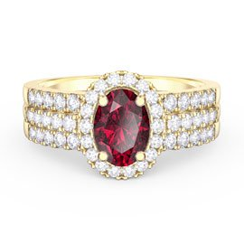 Eternity Oval Ruby Halo and Half Eternity 18ct Gold Vermeil Promise Ring Set