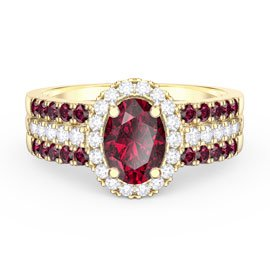 Eternity Oval Ruby Halo 18ct Gold Vermeil Promise Ring with Half Eternity Wedding Band