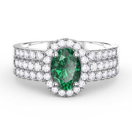 Eternity Emerald and White Sapphire Halo Silver Promise Ring Set (OVAL 2D WHITE GOLD)