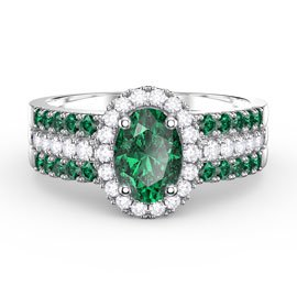 Eternity Emerald and White Sapphire Halo Silver Promise Ring Set (2E OVAL WHITE GOLD)