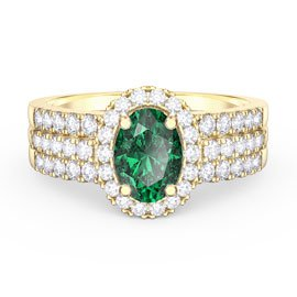 Eternity Emerald and White Sapphire Halo Silver Promise Ring Set (OVAL 2D YELLOW GOLD)