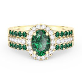 Eternity Oval Emerald Halo and Half Eternity 18ct Gold Vermeil Promise Ring Set