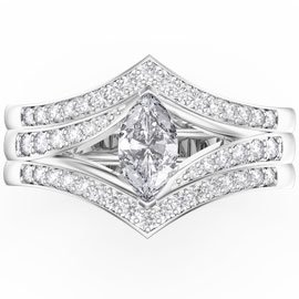 Unity White Sapphire 18ct White Gold Promise Ring Set (MARQUISE)