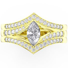 Unity White Sapphire 18ct Gold  Promise Ring Set (MARQUISE YELLOW GOLD)