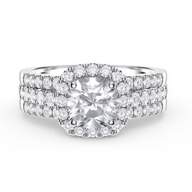 Princess Cushion White Sapphire Halo and Half Eternity Platinum plated Silver Promise Ring Set