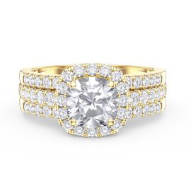 Princess Cushion White Sapphire Halo and Half Eternity 18ct Gold Vermeil Promise Ring Set