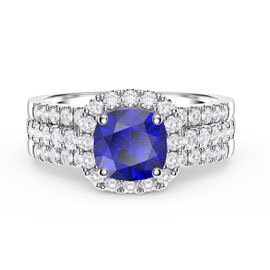 Princess Sapphire and Diamond Silver Promise Ring Set (CUSHION CUT 2D WHITE GOLD)