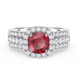 Princess Ruby and Diamond Silver Promise Ring Set (CUSHION CUT 2D WHITE GOLD)