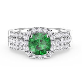 Princess Emerald and Diamond Silver Promise Ring Set (CUSHION CUT 2D WHITE GOLD)