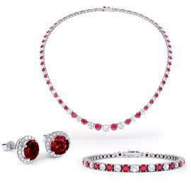 Eternity Ruby CZ Rhodium plated Silver Jewellery Set